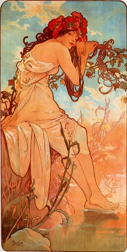 Verão por Alfons Maria Mucha - Art Renewal Center Museum, image 4425, Domínio público, https://commons.wikimedia.org/w/index.php?curid=8879667