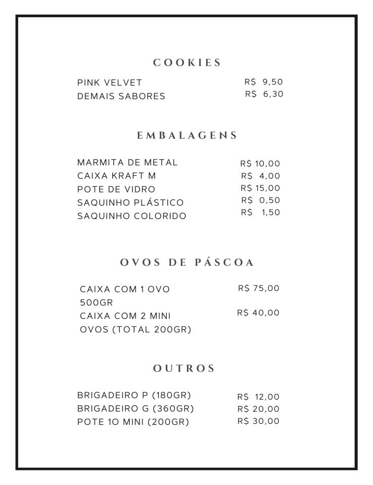 Tabela de preços página